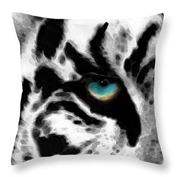 Dressed To Kill - White Tiger Art By Sharon Cummings Throw Pillow by Sharon Cummings