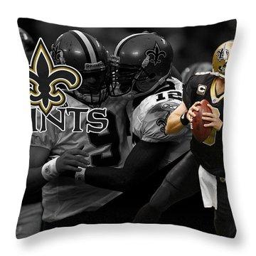 Drew Brees Saints Throw Pillow by Joe Hamilton