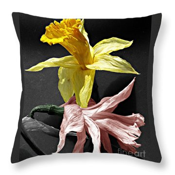 Throw Pillow featuring the photograph Dried Daffodils by Nina Silver