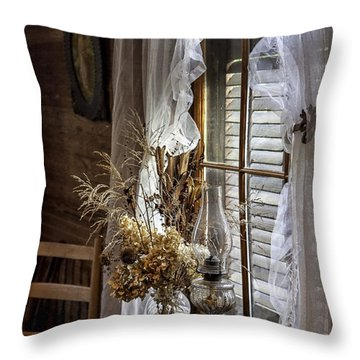 Dried Flowers And Oil Lamp Still Life Throw Pillow by Lynn Palmer
