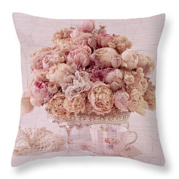 Throw Pillow featuring the photograph Dried Peony Still Life by Sandra Foster