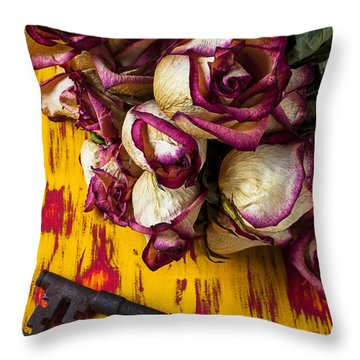 Dried Pink Roses And Key Throw Pillow by Garry Gay