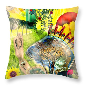Throw Pillow featuring the mixed media Drifting Away by Ally  White