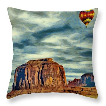 Drifting Over Monument Valley Throw Pillow by Jeff Kolker