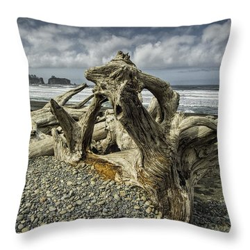 Driftwood On Rialto Beach In Olympic National Park No. 144 Throw Pillow by Randall Nyhof