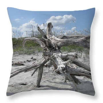 Driftwood Tree Throw Pillow by Ellen Meakin