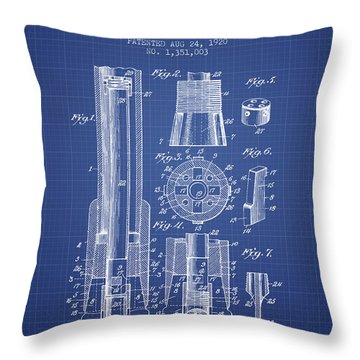 Drilling Bit For Oil Water Gas Patent From 1920 - Blueprint Throw Pillow