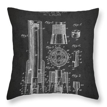 Drilling Bit For Oil Water Gas Patent From 1920 - Dark Throw Pillow