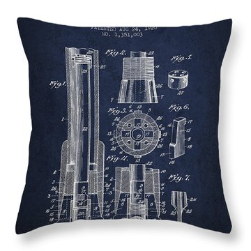 Drilling Bit For Oil Water Gas Patent From 1920 - Navy Blue Throw Pillow