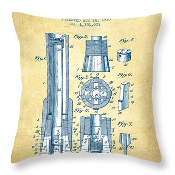 Drilling Bit For Oil Water Gas Patent From 1920 - Vintage Paper Throw Pillow