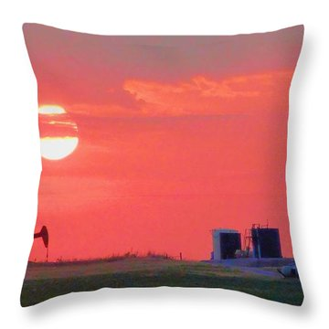 Throw Pillow featuring the photograph Rising Full Moon In Oklahoma by Janette Boyd
