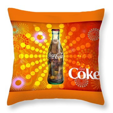Throw Pillow featuring the photograph Drink Ice Cold Coke 4 by James Sage