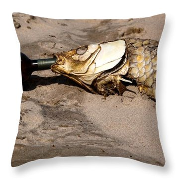 Drink Like A Fish Throw Pillow by Richard Engelbrecht