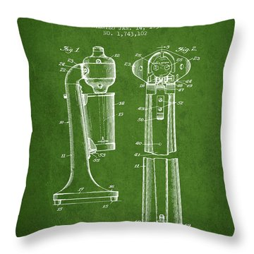 Drink Mixer Patent From 1930 - Green Throw Pillow