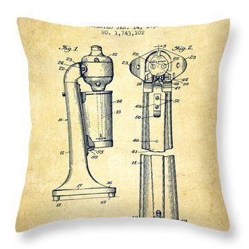 Drink Mixer Patent From 1930 - Vintage Throw Pillow
