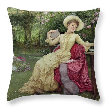 Drinking Coffee And Reading In The Garden Throw Pillow by Edward Killingworth Johnson
