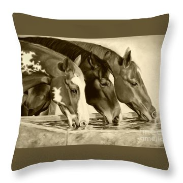 Drink'n Buddies Sepia Throw Pillow