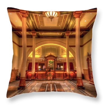 Throw Pillow featuring the photograph Driskill Hotel Check-in by Tim Stanley