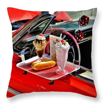 Drive-in Diner Throw Pillow by Jean Goodwin Brooks
