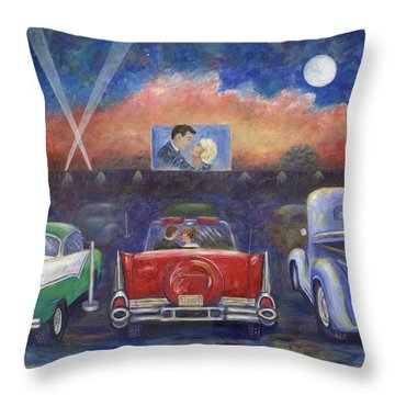 Drive-in Movie Theater Throw Pillow by Linda Mears