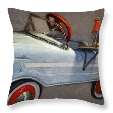 Drive In Pedal Car Throw Pillow by Michelle Calkins