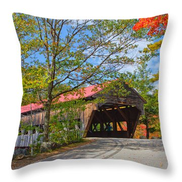 Drive In To Albany Covered Bridge #49 Throw Pillow by Shell Ette