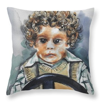 Driving The Taxi Throw Pillow by Chrisann Ellis