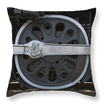 Driving Wheel On Vintage Train Throw Pillow
