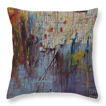 Throw Pillow featuring the painting Drizzled by Avonelle Kelsey
