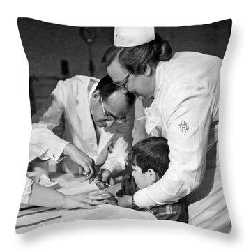 Dr.jonas Salk Giving Vaccine Throw Pillow