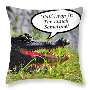 Drop In For Lunch Greeting Card Throw Pillow by Al Powell Photography USA