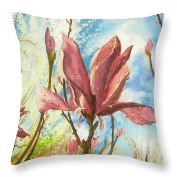 Drops Of Morning Throw Pillow