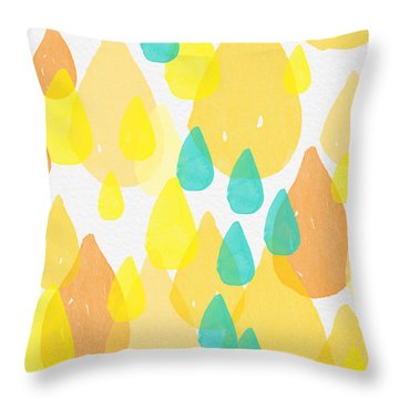 Drops Of Sunshine- Abstract Painting Throw Pillow by Linda Woods