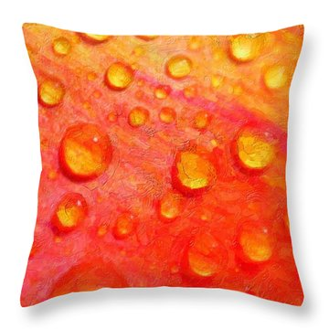Drops On Flower Petals Throw Pillow by Tommytechno Sweden