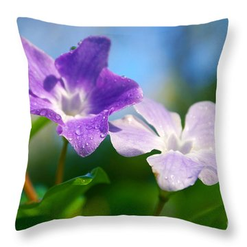 Drops On Violets Throw Pillow by Carlos Caetano
