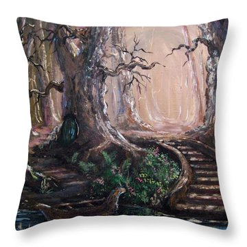 Throw Pillow featuring the painting Druid Walk by Megan Walsh