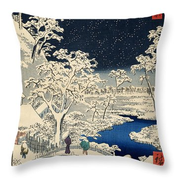 Drum Bridge At Meguro And Sunset Hill Throw Pillow by Georgia Fowler