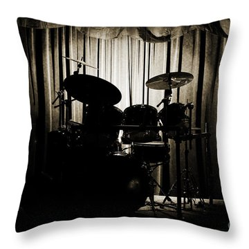 Drum Set On Stage Photograph Combo Jazz Sepia 3234.01 Throw Pillow
