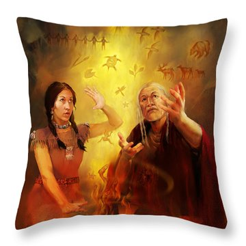 Drum Story Elders Teaching Throw Pillow by Rob Corsetti