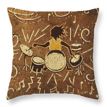 Drummer Throw Pillow by Katherine Young-Beck