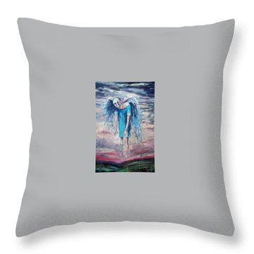 Drunk Angel Throw Pillow by Elisheva Nesis