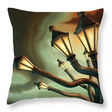 Drunk Streetlamps Throw Pillow by Remus Brailoiu