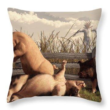 Drunken Pigs Throw Pillow by Daniel Eskridge
