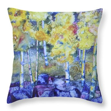 Dry Creek Aspens Throw Pillow by Nancy Jolley