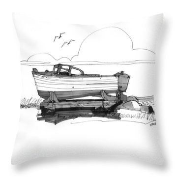 Dry Dock In Ocracoke Nc 1970s Throw Pillow