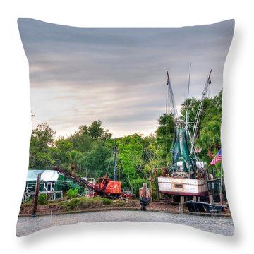 Dry Docked Shrimp Boat Throw Pillow