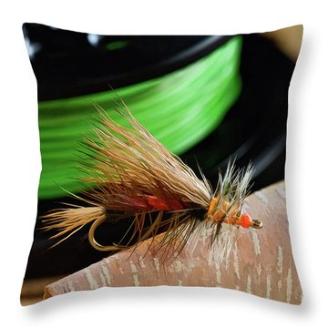 Dry Fly - D003399b Throw Pillow by Daniel Dempster