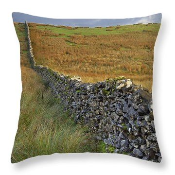 Dry Stone Wall Yorkshire Dales Uk Throw Pillow