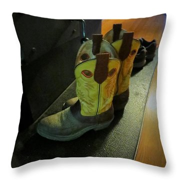 Drying By The Old Cook Stove Throw Pillow