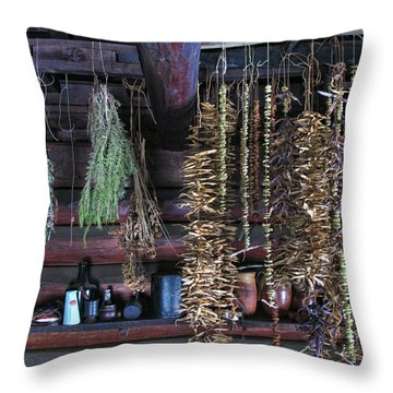 Drying Herbs And Vegetables In Williamsburg Throw Pillow